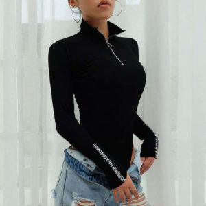 Turtleneck Ring Zipper Bodysuit