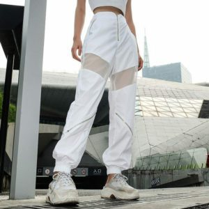 White Mesh Sweatpants