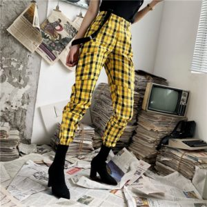 Yellow Plaid Loose Trousers
