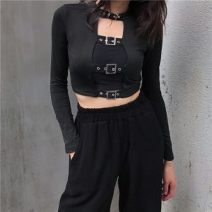 Black Crop Top with Belts Buckles