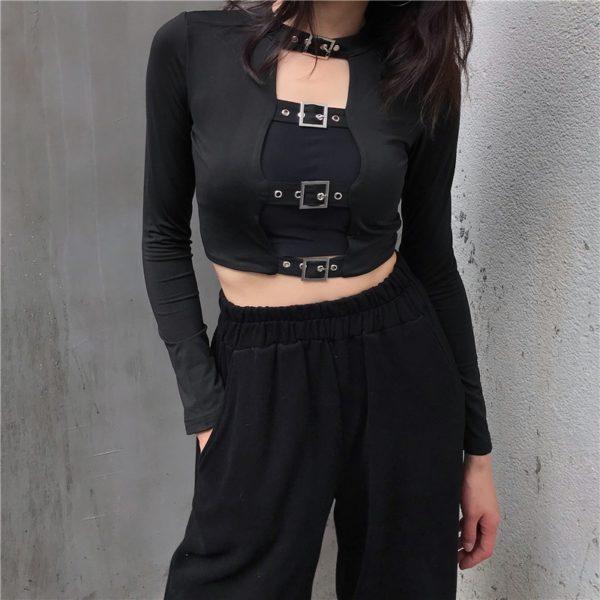 Black Crop Top with Belts Buckles