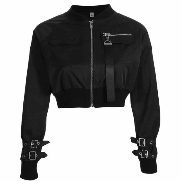 Cropped Bomber Jacket with Zipper