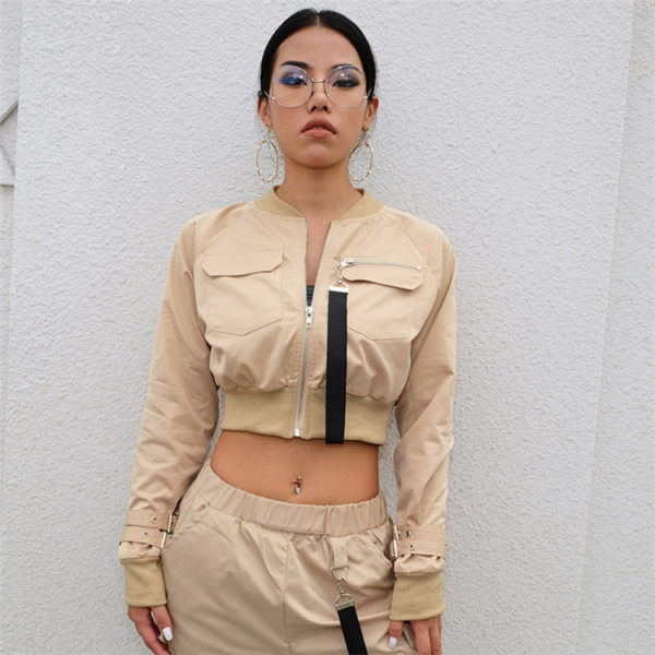 Cropped Bomber Jacket with Zipper Khaki