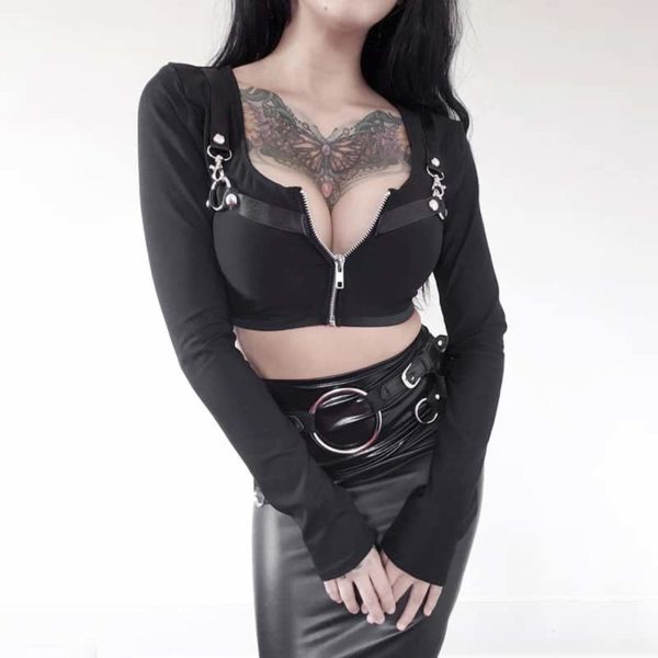 Gothic Crop Top with Zipper