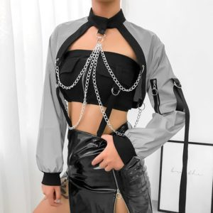 Reflective Crop Top with Metal Chains