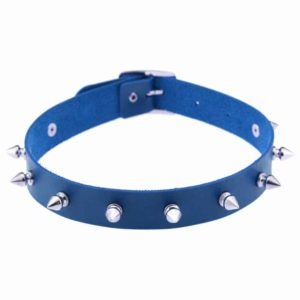 Blue Vegan Leather Choker with Metal Spikes