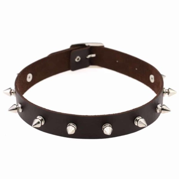 Dark Coffee Vegan Leather Choker with Metal Spikes