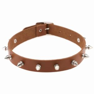 Light Coffee Vegan Leather Choker with Metal Spikes