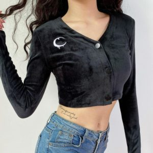 Melted Moon Velour Crop Top