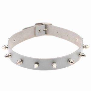 Silver Vegan Leather Choker with Metal Spikes