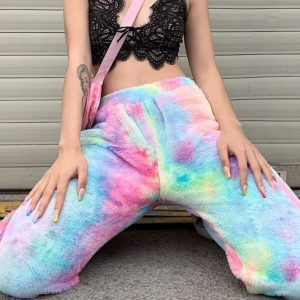 Tie Dye Faux Fur Trousers