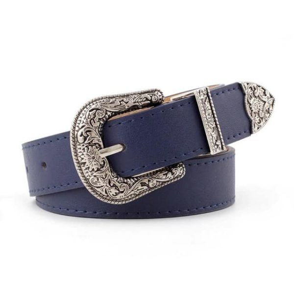 Vegan Leather Cowgirl Belt Navy