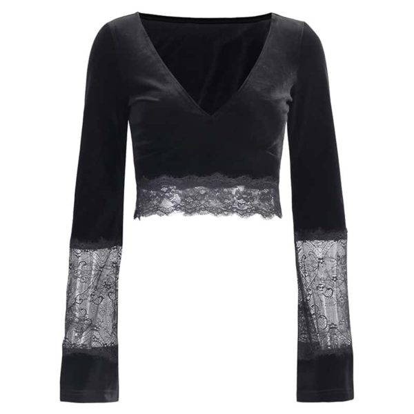 Gothic Long Sleeve Lace Crop Top
