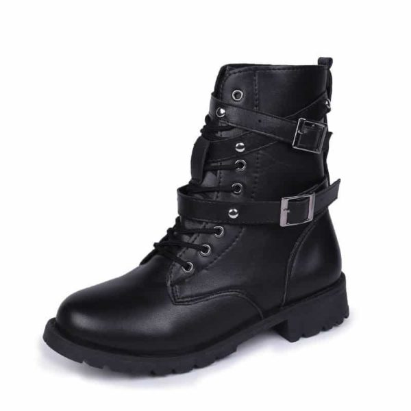 Motorcycle Ankle Boots with Buckle