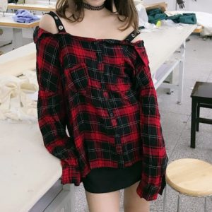 Oversized Plaid Shirt with Straps