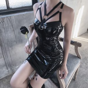 Vegan Leather Mini Dress with Bandages