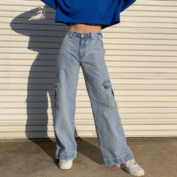 High Waist Jeans with Pockets