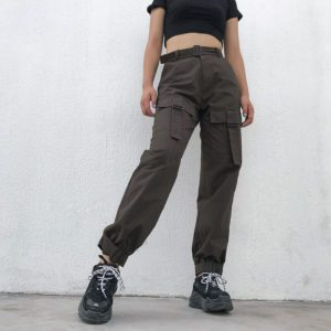 High Waist Trousers with Pockets