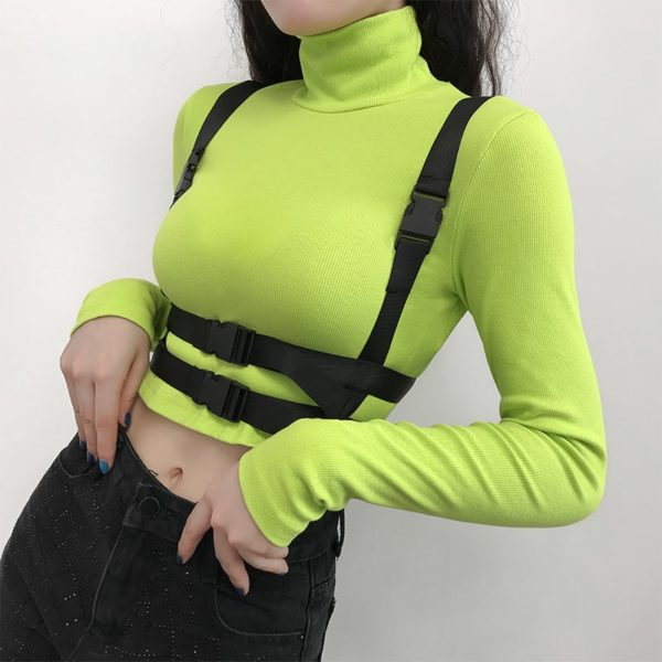 Neon Turtleneck Crop Top with Buckle Straps