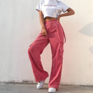 Pink Corduroy Trousers with Ribbon