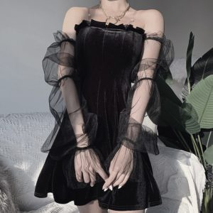 Pleated Gothic Dress with Mesh Sleeves