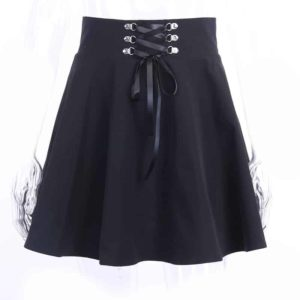 Pleated Lace-up Mini Skirt