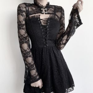 Long Sleeve Lace Short Top