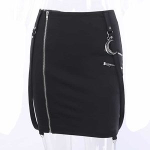 Mini Skirt with Moon Pendant Zipper