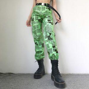 Printed Headlines Green Trousers