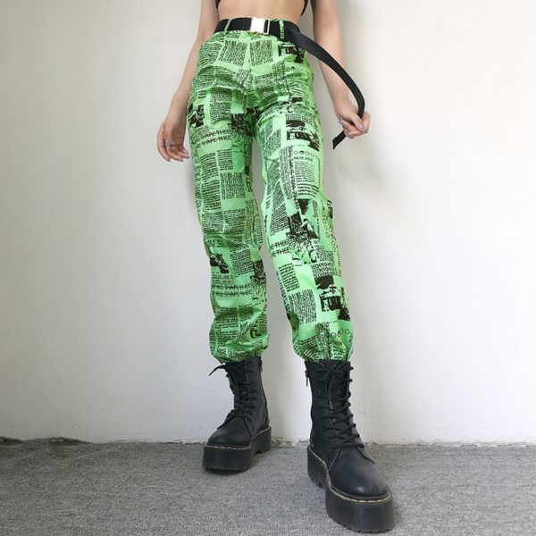 Printed Headlines Green Trousers