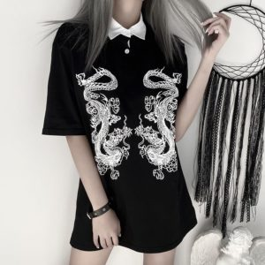 Dragons Print Long Shirt