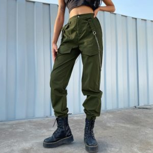 HIgh Waist Cargo Pants with Metal Chain