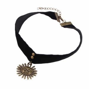 Mathilda Velvet Ribbon Choker Gold