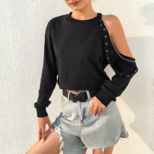 Off-shoulder Rivet Shirt with Chain