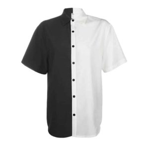 Black & White Turn-Down Collar Shirt