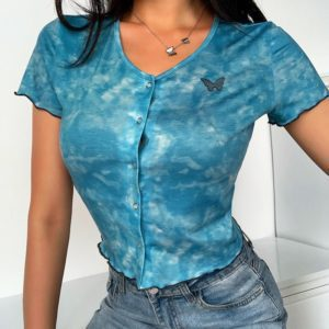 Blue Tie-Dye Crop Top with Butterfly