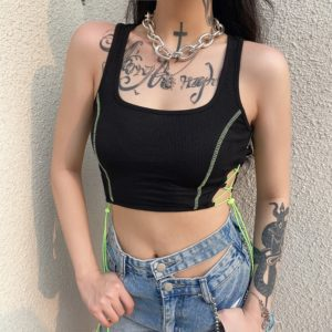 Bralette Neon Lace-up Tank Top