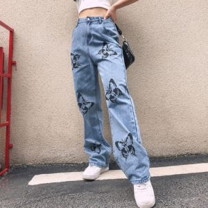 Denim Pants with Butterflies