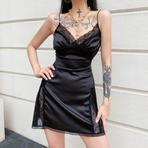 Lace Satin Mini Dress