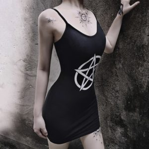 Pentagram Black Mini Dress