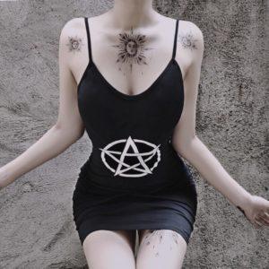 Pentagram Black Mini Dress