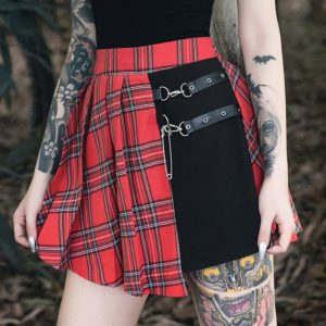 Pleated Mini Skirt with Strap Belts