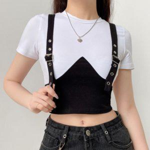 Black & White Shirt with Belt Suspenders