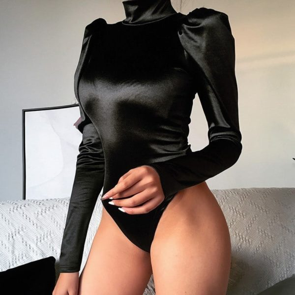 Black Bodysuit with Fluffy Sleeves