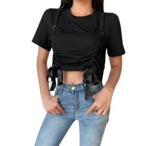 Black Crop Top with Bow Bandage Straps
