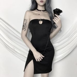 Black Mini Dress with Chest Buckle