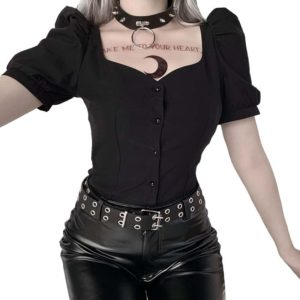 Black Shirt with Puff Sleeves