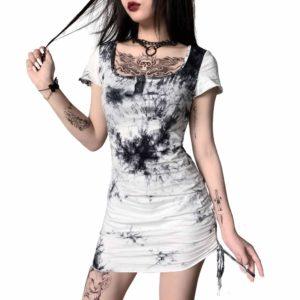 Black & White Tie-Dye Mini Dress