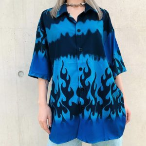 Blue Flaming Fire Shirt
