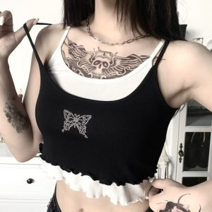 Butterfly Ruffled Crop Top
